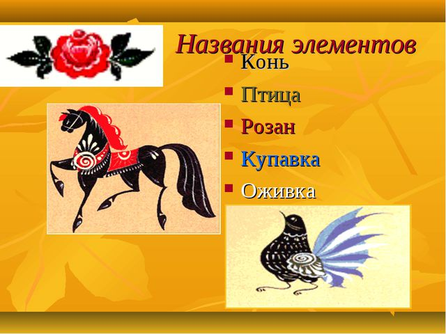 Названия элементов Конь Птица Розан Купавка Оживка