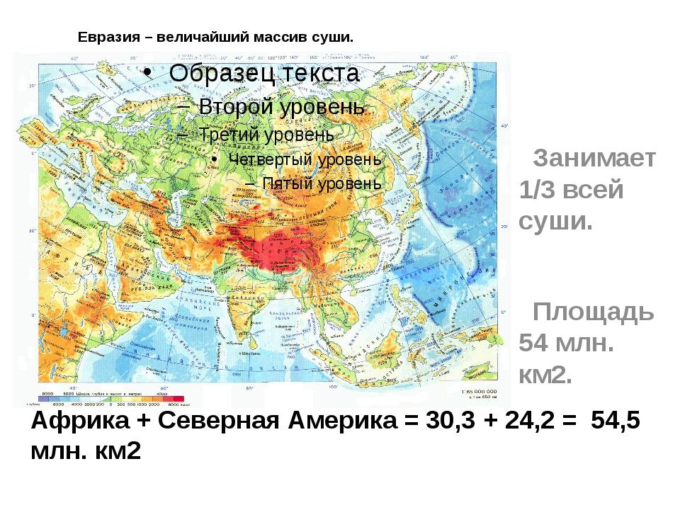 Евразия – величайший массив суши. Занимает 1/3 всей суши. Площадь 54 млн. км...