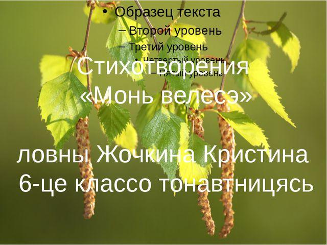 Стихотворения «Монь велесэ» ловны Жочкина Кристина 6-це классо тонавтницясь