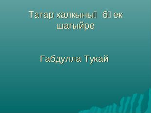 Татар халкының бөек шагыйре Габдулла Тукай