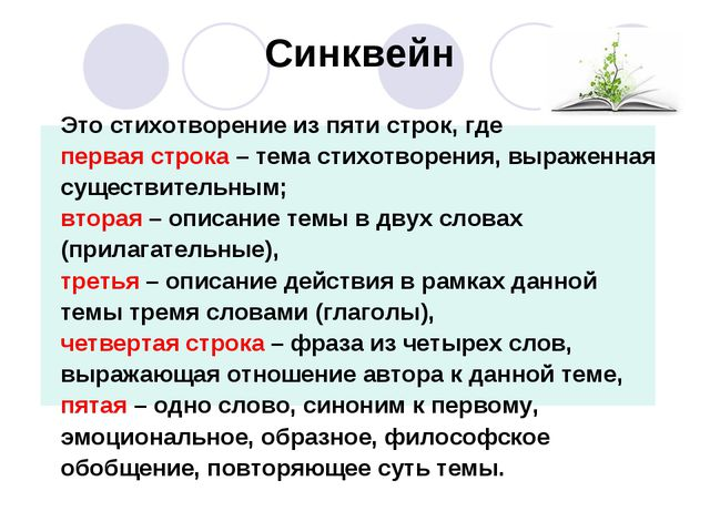 Синквейн Это стихотворение из пяти строк, где первая строка – тема стихотворе...