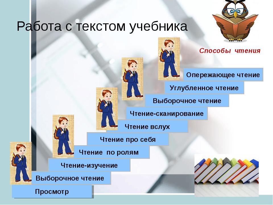 Работа с текстом учебника Просмотр Выборочное чтение Чтение-изучение Выборочн...