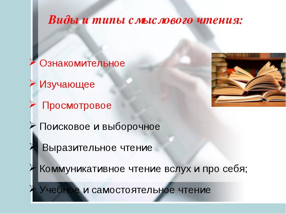 Виды и типы смыслового чтения: Ознакомительное Изучающее Просмотровое Поисков...