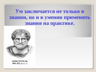 Ум заключается не только в знании, но и в умении применять знания на практике.
