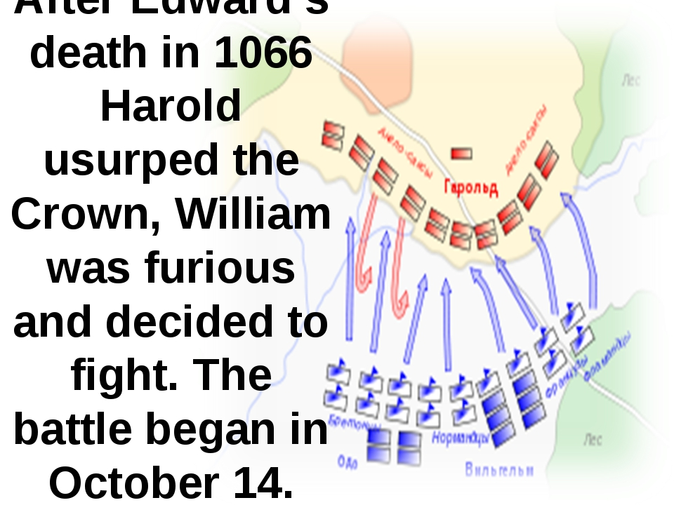 After Edward's death in 1066 Harold usurped the Crown, William was furious an...