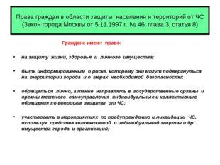 Права граждан в области защиты населения и территорий от ЧС (Закон города Мос