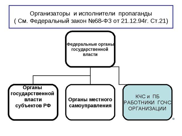 Организаторы и исполнители пропаганды ( См. Федеральный закон №68-ФЗ от 21.12...