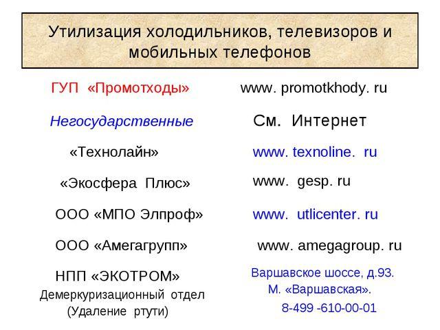 Утилизация холодильников, телевизоров и мобильных телефонов ГУП «Промотходы»...