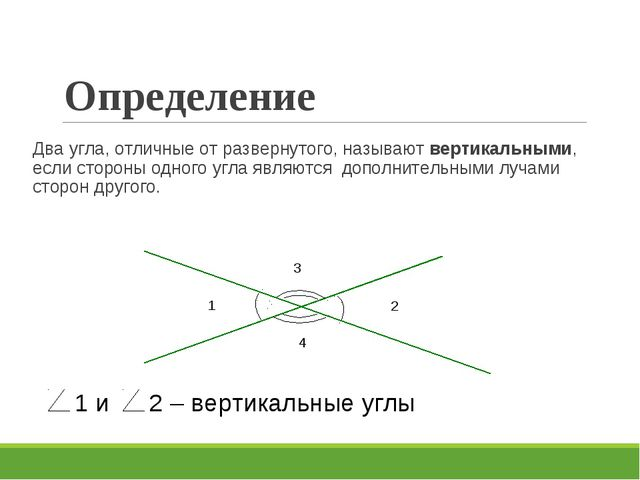 Определение Два угла, отличные от развернутого, называют вертикальными, если...