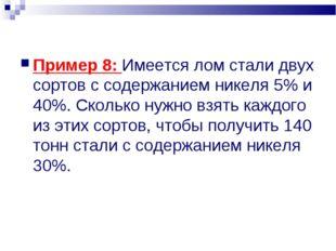Пример 8: Имеется лом стали двух сортов с содержанием никеля 5% и 40%. Скольк