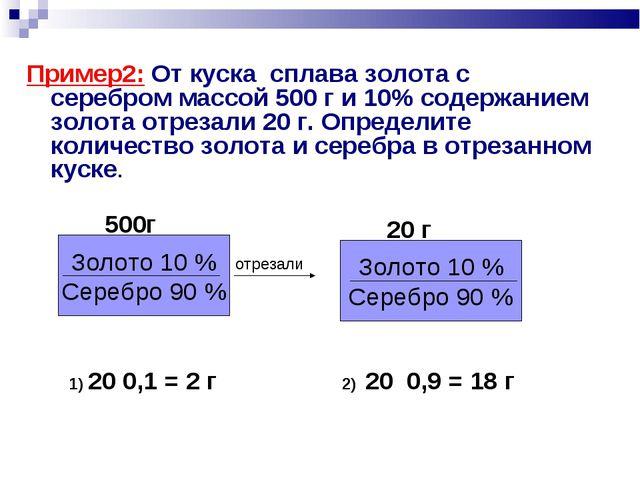 Пример2: От куска сплава золота с серебром массой 500 г и 10% содержанием зол...