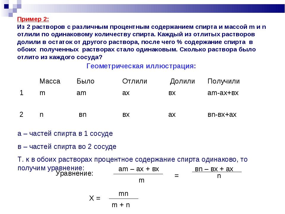 Пример 2: Из 2 растворов с различным процентным содержанием спирта и массой...