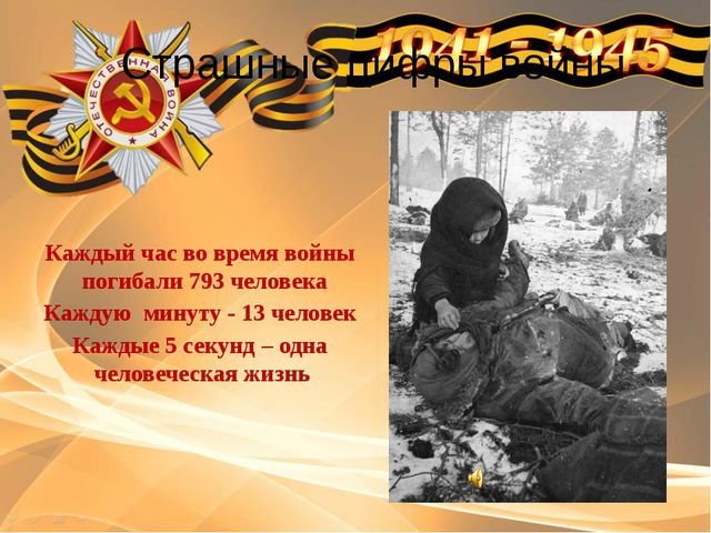 Страшные цифры войны Каждый час во время войны погибали 793 человека Каждую...