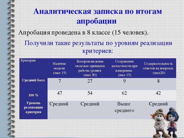 Аналитическая записка по итогам апробации Апробация проведена в 8 классе (15...