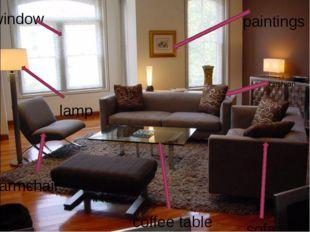 paintings armchair window sofa coffee table cushion lamp