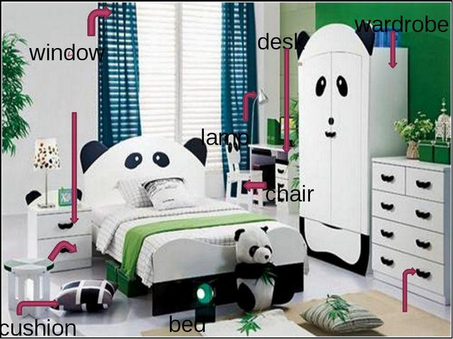 bed wardrobe cushion chair lamp window desk