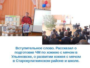 Вступительное слово. Рассказал о подготовке ЧМ по хоккею с мячом в Ульяновске