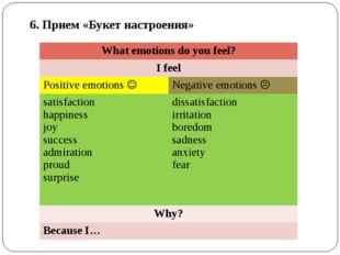 6. Прием «Букет настроения» What emotions do you feel? I feel Positive emotio
