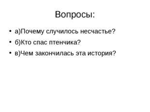 Вопросы: а)Почему случилось несчастье? б)Кто спас птенчика? в)Чем закончилась