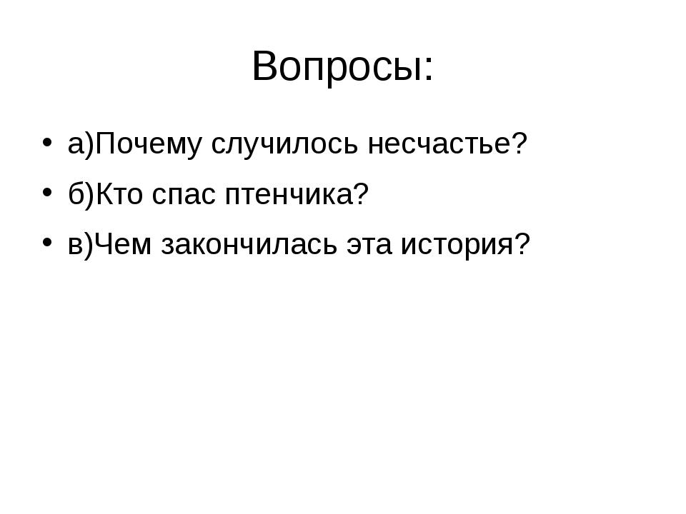 Вопросы: а)Почему случилось несчастье? б)Кто спас птенчика? в)Чем закончилась...