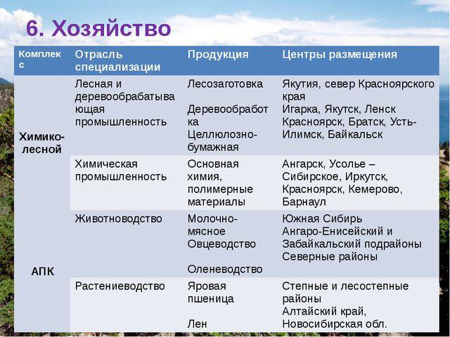 6. Хозяйство Комплекс Отрасль специализации Продукция Центрыразмещения Химико...