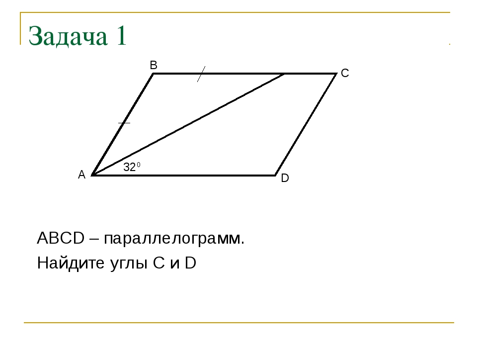Задача 1 ABCD – параллелограмм. Найдите углы C и D