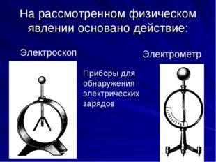 На рассмотренном физическом явлении основано действие: Электроскоп Электромет