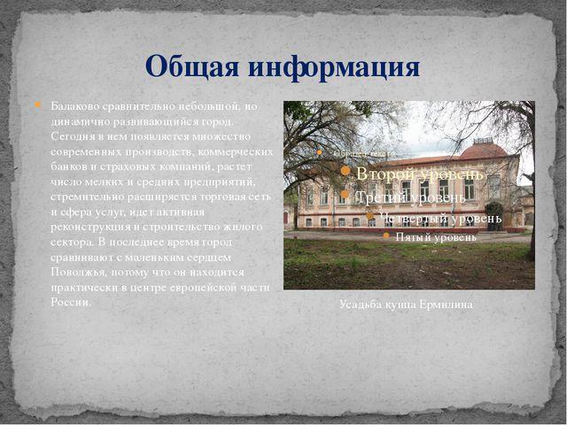 Общая информация Балаково сравнительно небольшой, но динамично развивающийся...