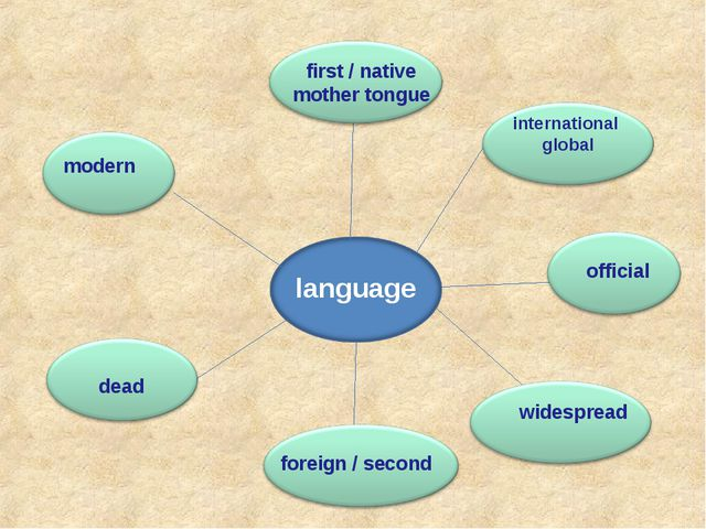 language first / native mother tongue official widespread foreign / second de...