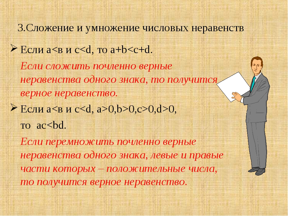 3.Сложение и умножение числовых неравенств Если а