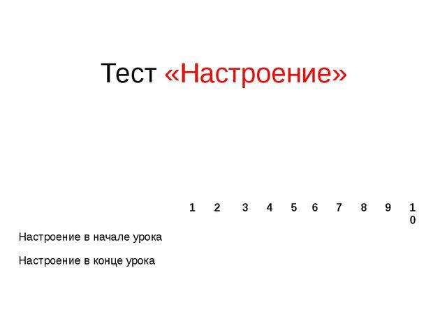 Тест «Настроение» 1 2 3 4 5 6 7 8 9 10 Настроение в начале урока Настроение в...