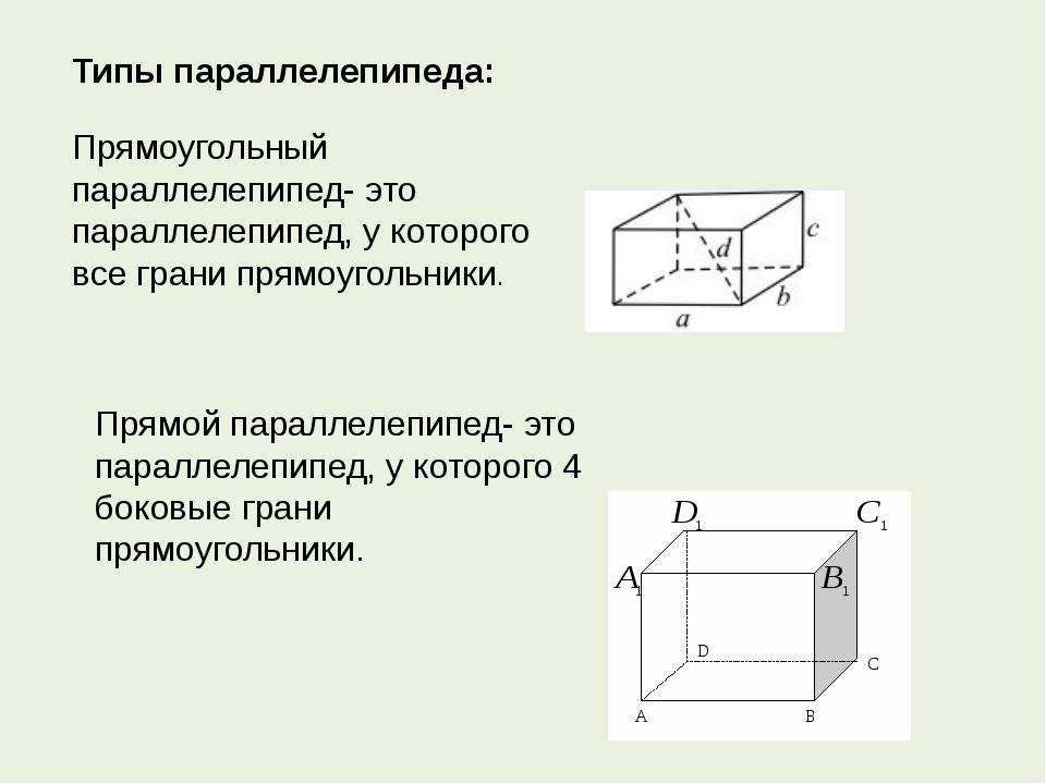 Типы параллелепипеда: Прямоугольный параллелепипед- это параллелепипед, у кот...