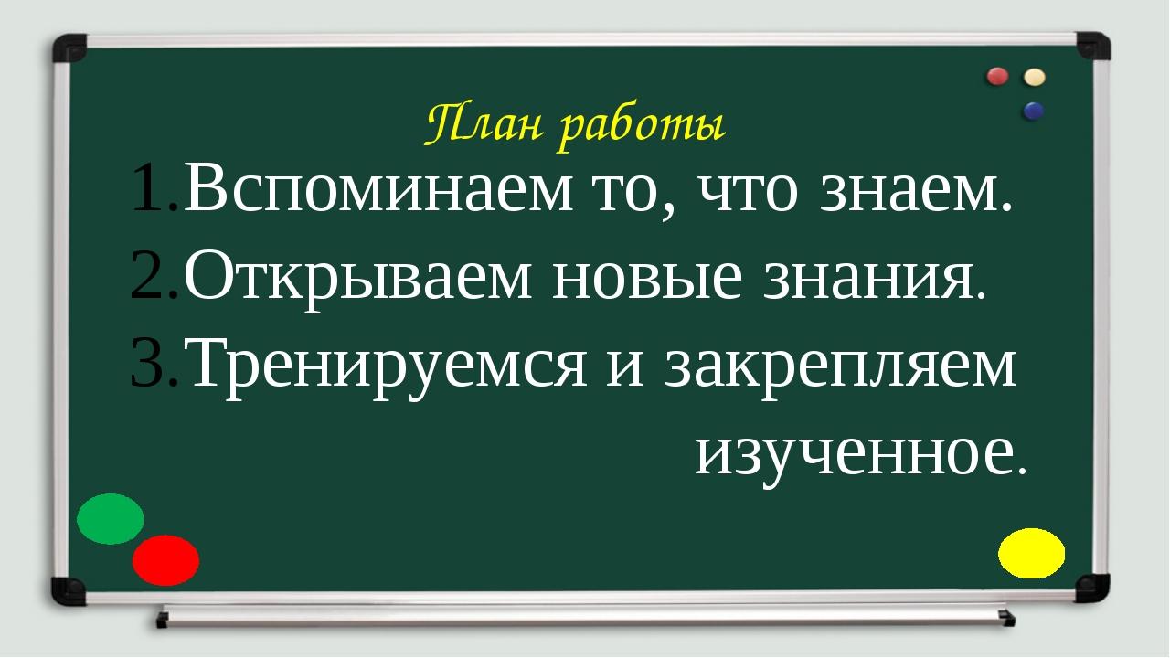 План работы Вспоминаем то, что знаем. Открываем новые знания. Тренируемся и з...