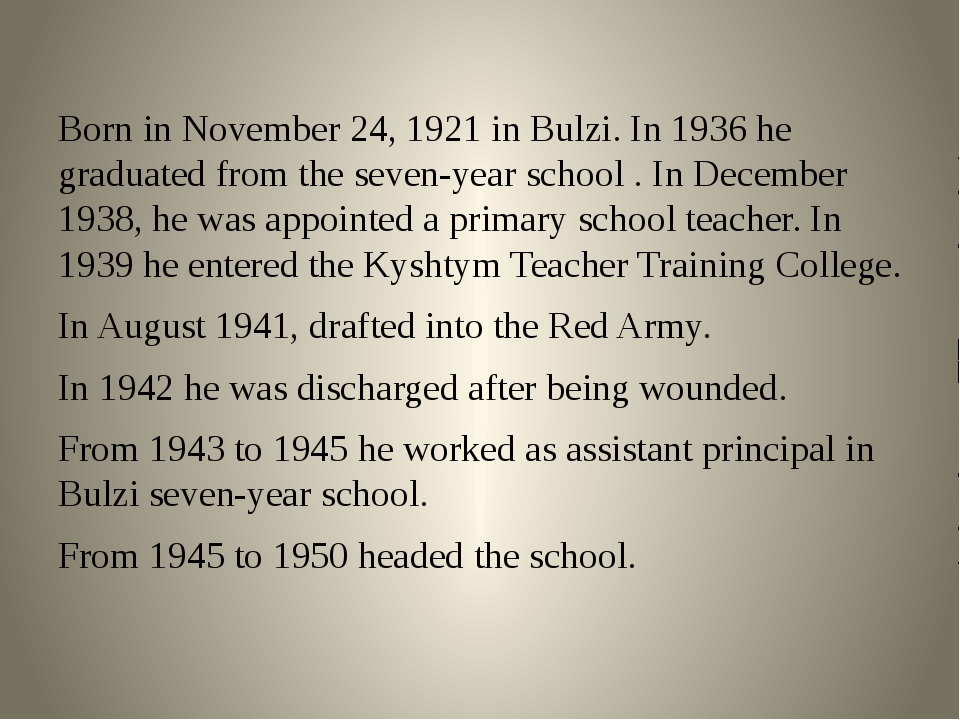 Born in November 24, 1921 in Bulzi. In 1936 he graduated from the seven-year...