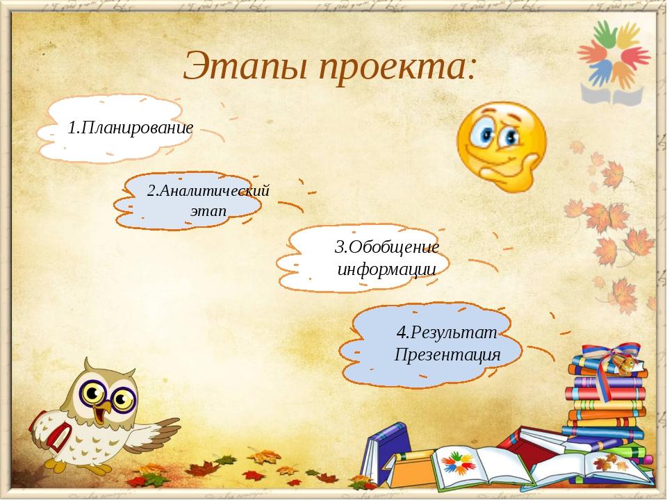 Этапы проекта: 1.Планирование 2.Аналитический этап 3.Обобщение информации 4.Р...