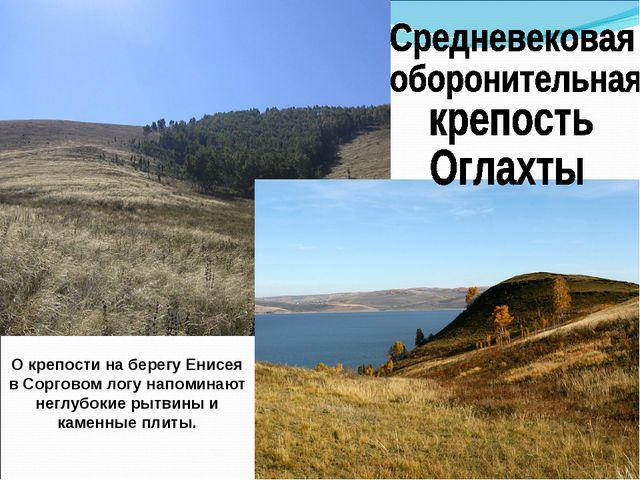 О крепости на берегу Енисея в Сорговом логу напоминают неглубокие рытвины и к...