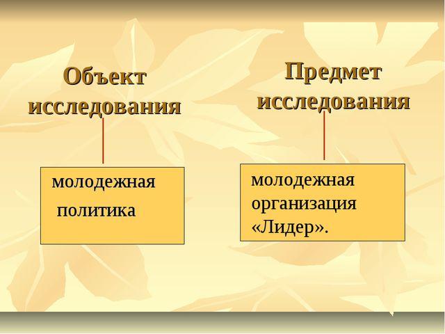 Объект исследования молодежная политика Предмет исследования молодежная орган...