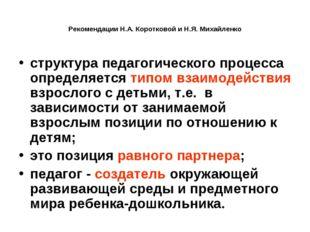 Рекомендации Н.А. Коротковой и Н.Я. Михайленко структура педагогического проц