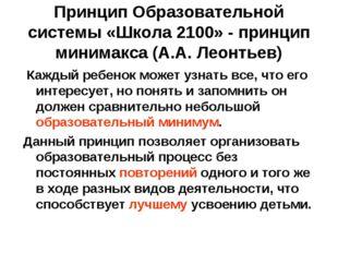 Принцип Образовательной системы «Школа 2100» - принцип минимакса (А.А. Леонть