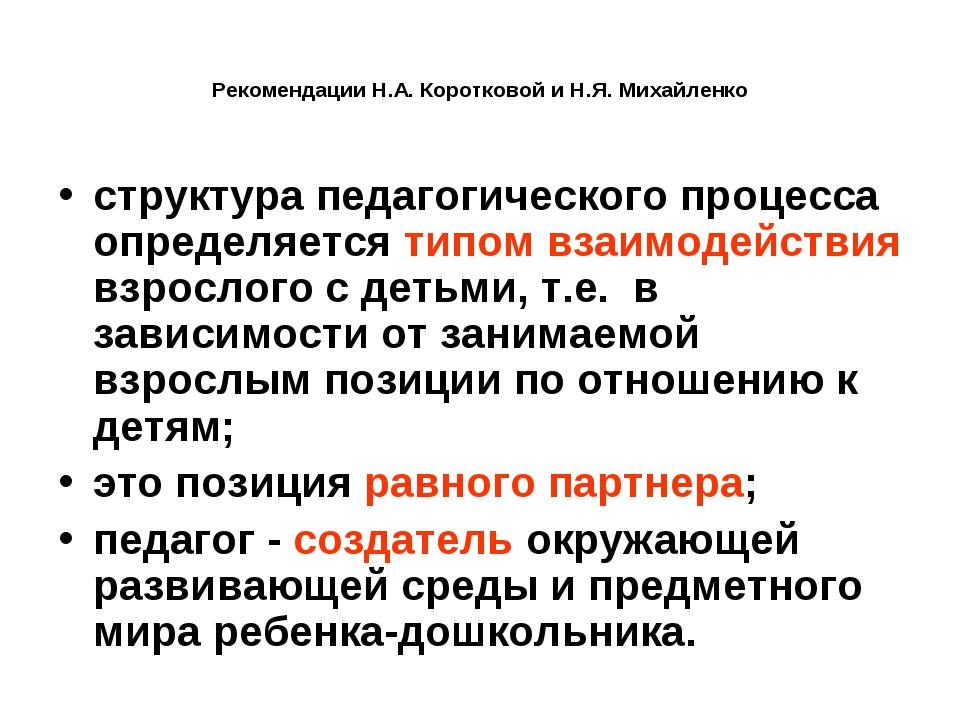 Рекомендации Н.А. Коротковой и Н.Я. Михайленко структура педагогического проц...