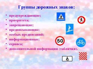 Группы дорожных знаков: предупреждающие; приоритета; запрещающие; предписываю