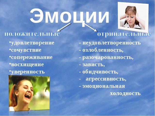 Эмоции удовлетворение - неудовлетворенность сочувствие - озлобленность,...
