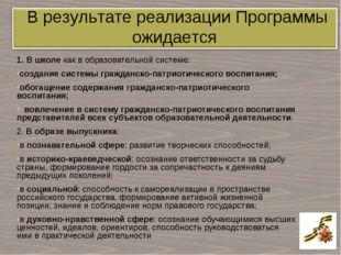 1. В школе как в образовательной системе: создание системы гражданско-патриот