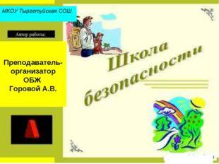 Преподаватель-организатор ОБЖ Горовой А.В. МКОУ Тыргетуйская СОШ