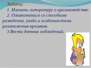 Задачи: 1. Изучить литературу о кролиководстве. 2. Ознакомиться со способами