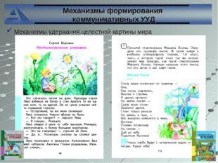 Механизмы формирования коммуникативных УУД Механизмы удержания целостной карт