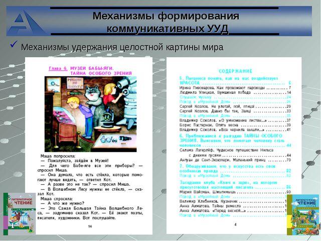 Механизмы формирования коммуникативных УУД Механизмы удержания целостной карт...