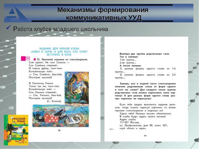 Механизмы формирования коммуникативных УУД Работа клубов младшего школьника