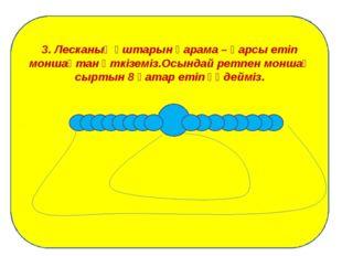 3. Лесканың ұштарын қарама – қарсы етіп моншақтан өткіземіз.Осындай ретпен м