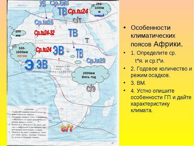 Особенности климатических поясов Африки. 1. Определите ср. t°я. и ср.t°и. 2....